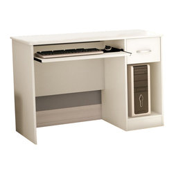 South Shore - South Shore Axess Desk in Pure White - South Shore - Computer Desks - 7250076C - This Axess Desk in Pure White finish is the perfect answer to organizing clutter in your child�s room. It features a compact design yet includes space for everything needed for schoolwork and projects. A low hutch offers shelving for books or keepsakes, and the desktop, plenty of room to spread out homework or a house laptop. Under it, you will find a keyboard tray, one practical drawer with a silver finish metal handles and a storage compartment divided by an adjustable shelf.