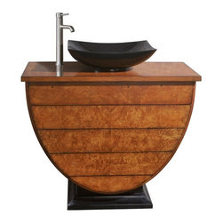 AVANITY LEGACY 40 in. Bathroom Vanity - The Legacy Collection has a unique design that offers a Maple Burl Veneer over solid birch framed construction. This Vanity can be used with most vessels and comes with an undrilled top. This allows you the choice to use this piece of furniture as an accent to any room. It also has 3 drawers for lot's of storage. Coordinating Mirror completes the set and can be hung vertical or horizontal to suit your needs.