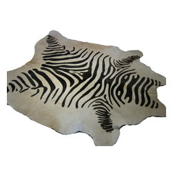 Diseño Boston - Printed Cowhide Rugs, Zebra Print - Brazil has some of the most beautiful hide products and the people are quite lovely as well. These soft and supple hides measure approximately 7' X 7'.