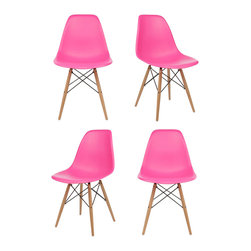 Ariel - Set of 4 Eames Style Molded Pink Plastic Dining Shell Chair W/ Wood Eiffel Legs - This set of 4 Eames Style DSW Molded Plastic Dining Shell Chair with Wood Eiffel Legs will provide ample indoor seating for family and guests. Sporting a futuristic yet retro look at the same time, this chair set will be a great addition to any kitchen or dining room area. Constructed of heavy duty matte finish seats. Also available in white, black, or light blue.