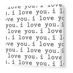"""Avalisa - Imagination - 'I Love You' Stretched Wall Art, Black, 28"""" x 28"""" - Avalisa Children's Art creates canvas wall art that is modern in style and simple in design."""