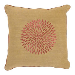 Gold Pillow with Burnt Orange and Sienna Pattern by Surya - Down-filled gold square pillow with burnt orange and sienna accents.