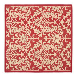 Safavieh - Courtyard Poolside Red/ Natural Indoor Outdoor Rug (6'7 Square) - Add some color and style to your home with this beautiful indoor outdoor rug. Designed with a stunning red backdrop,this floral patterned rug is unaffected by heat or humidity. It is easy to maintain and will blend with any home design.