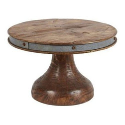 Europe 2 You - Tall Cake Stand by Europe 2 You - This reclaimed wood cake stand will add a Tuscan touch to your table or buffet table offering a welcoming home made look to any cake or desert assortment. The aged nail heads secure a strip of galvanized metal for additional interest. (ETY)