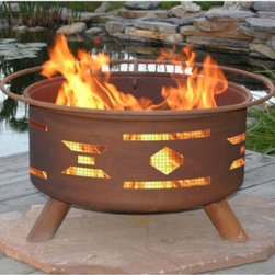 Patina Mosaic Santa Fe 31-Inch Fire Pit - Traditional patterns of the Southwest grace the sides of Patina Mosaic Santa Fe Fire Pit. You will revel in the cut-out shapes that suggest a rustic campfire in the mountain of Arizona or New Mexico. Flickering firelight will make these shapes dance and add unmistakable atmosphere. You can even grill food on the BBQ grill insert. A safety screen and a poker for stirring coals is also included. This versatile fire pit comes with everything you need to enjoy crackling flames and flickering light. Made of durable cold-rolled steel with strong legs and a metal bottom and a natural rust patina finish. FREE Fire pit cover is included!If you plan to use your fire pit on a wood deck we recommend placing it over a protective pad or paving stones which can be purchased at your local hardware store.Enjoy this versatile and rustic-looking firepit in your backyard or patio. Your Purchase Includes: Fire PitSpark ScreenGrill InsertFire PokerVinyl Cover