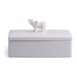 Elephant Ceramic Box, Rectangle - Elephants are my favorite animal, and this ceramic box from C. Wonder would be a darling addition to my desktop.
