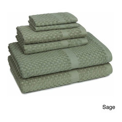 None - Mary Jane's Farm Honeycomb Check 6-piece Towel Set - Mary Jane's 6-piece towel set is an all over waffle check highlighted by a honeycomb border. Made from 100-percent cotton, these elegant towels are both decorative and functional. Machine washable for easy care and repeated use.