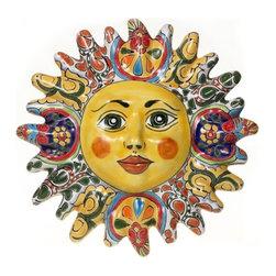 """Mexican Talavera - Mexican Talavera 12"""" Sun Plaque, Design A - Mexican Talavera 12"""" Sun Plaque"""