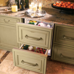 Custom panel double-drawer refrigerator - The surprisingly spacious double-drawer undercounter refrigerator is available in a European or professional-style design*, but also accepts custom panels. The built-in configuration allows near-seamless integration with surrounding cabinetry.