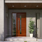 Modern contemporary entry doors - Modern entry door with sidelight and long stainless steel pull