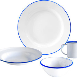Crow Canyon Home - Dinnerware Set, 16-Piece, White and Blue Rim - Four table settings of our most popular enamelware items: dinner plate, salad plate, bowl, and mug.