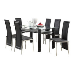 "Acme - 7-Piece Riggan Ii Collection Modern Style Black Leather-Like Dinette Set - 7-Piece Riggan II collection modern style black leather like upholstered chairs glass top dinette set . This set features a glass top table with metal base and glass top , 6 - side chairs with a Black leather like upholstery. Table measures 35"" x 59"" . Chairs measure 39"" H at the back. Some assembly required."
