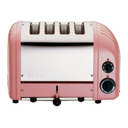 "Dualit - Dualit New Generation Vario 4-Slice Bread Classic Toaster - Petal Pink - Selector control allows you to heat either one or both slots. Setting for frozen bread, defrost and the option to toast buns and bagels. 4-Slices Insulated Stainless Steel Body 28mm /1.1"" extra wide slots. Removable crumb tray and adjustable rear foot. Output per hour: 130 slices. Loading: 1800 watts. Dimensions: 14"" x 8"" x 9"" high. 1-Year Warranty."