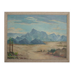 "Desert by E.L. Hill - Consigned Vintage Artwork - Peaceful desert mountain scene. Signed ""E.L. Hill"" lower right.  Displayed in wood frame. Few slight marks on canvas"