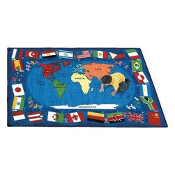 Joy Carpets Flags of the World Kids Area Rug - Give your child's room or your classroom the world with this fun and educational Flags of the World Carpet. Colorful flags decorate the borders and a map of the world sits in the center. Each flag can be matched to its continent with the corresponding colored dot.Sizes available:5 feet 4 inches x 7 feet 8 inches7 feet 8 inches x 10 feet 9 inches10 feet 9 inches x 13 feet 2 inchesThis carpet features SoftFlex backing which is an air-texturized polypropylene secondary backing that's designed to withstand the most demanding situations. SoftFlex is woven tightly yet is still extremely flexible which helps eliminate wrinkles and provide superior protection and insulation underfoot.JoyTuff carpets are Stainmaster-protected and ideal for home or office use. They are constructed from Stainmaster BCF Type 6 6 two-ply nylon and feature advanced protection against stain and soil as well as Impervion mold and mildew protection. This carpet is bound and serged for maximum durability and features a SoftFlex back plus a Class I Flammability rating. To maintain simply vacuum regularly and use hot water extraction cleaning as required.This carpet includes the following warranties:Lifetime limited wear warrantyLifetime limited antimicrobial protectionLifetime limited static protection10-year limited dual technology soil and stain protectionDedicated to Environmental StewardshipJoy Carpets understands the importance of environmental stewardship and its relationship to a successful business. We are committed to operating our facilities in an environmentally sustainable manner and in a manner that protects the health and safety of our associates and the public.Our environmental commitment is driven by a holistic approach to sustainable operations not simply focusing on recycling alone. Joy Carpets reaches beyond recycling in an effort to reduce our company's environmental footprint. Our vision and progress to achieving the goal of full sustainability focuses on the following:Environmentally friendly productsReview of our products' supply chainExtending product life cycleUse of recycled packagingReducing waste to landfillReducing energy consumption and water usageUse of alternative energy sources'No carpet to landfill' commitmentRecycling carpet into new productsDonating carpet for charitable re-useAdditionally Joy Carpets is committed to establishing a strong foundation of environmental values with our families associates and communities to ensure the long-term conservation of our earth's natural resources.About Joy CarpetsJoy Carpets is the leader in specialty broadloom modular carpet Carpets and mats in creative and eye-catching designs. Joy takes pride in providing first-rate floor coverings for residential educational hospitality healthcare and commercial markets. The pioneer of fine gauge tufting Joy Carpets introduced the first recreational carpeting to the industry in 1973 and since that time has been known for their commitment to cutting edge technology and design. Joy Carpets are proudly made in the United States and sold worldwide. Choose Joy Carpets for superior service and unique fun products that enhance your decor and give you fantastic flooring in an instant.