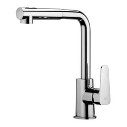 "WS Bath Collections - Sly Kitchen Faucet With Hand Shower - Sly by WS Bath Collections, One-Hole Kitchen Sink Faucet, with Two-spray ABS Pull-out Hand Shower and Flexible Hose in Polished Chrome Finish, Solid Brass Base, Two-Spray ABS Pull-out Hand Shower with 5.9"" Flexible Hose Single Lever Controls Flow Rate and Temperature High Swiveling Spout, Made in Italy"