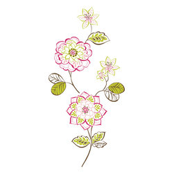 """WallPops - Des Fleurs Wall Art Decal Kit - Des Fleurs features luxurious pink, green and white French flower wall art. Accented with peel & stick pink and green gem embellishments, Des Fleurs is lovely and delightful! The jewel accents on these beautiful floral wall decals make them extra special. Des Fleurs Kit WallPops come on two 17.25"""" x 39"""" sheets and contains 4 total pieces and comes with Jewel Accents.  WallPops are always repositionable and removable."""