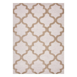 Jaipur Rugs - Modern Geometric Pattern Beige /Brown Wool Tufted Rug - CT19, 9.6x13.6 - Over scaled sharp geometrics characterize this striking contemporary range of hand tufted rugs. The high/low construction in wool and art silk creates texture and surface interest and gives a look of matt and shine.