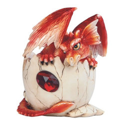 GSC - 4.75 Inch Red Baby Dragon in Eggshell with Gem Figurine - This gorgeous 4.75 Inch Red Baby Dragon in Eggshell with Gem Figurine has the finest details and highest quality you will find anywhere! 4.75 Inch Red Baby Dragon in Eggshell with Gem Figurine is truly remarkable.