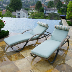 RST Brands - RST Brands Cannes Chaise Lounge - Set of 2 - OP-PEAL2-CNS-BLS-K - Shop for Chaise Lounges from Hayneedle.com! Lounge comfortably and enjoy the sun and warm weather the sophisticated RST Outdoor Cannes Chaise Lounge - Set of 2. Beautifully crafted from powder-coated durable aluminum and accented with hand woven polyethylene wicker you'll love the modern elegance of this set. With a five-position back rest and plush comfortable cushions made form high-density layered foam you'll be able to relax for hours while reading a book talking with a friend or taking a short nap. The cushions come in your choice of color so you can easily match your patio decor these chairs stack up to eight high for easy storage. Additional Features Made from 100% recyclable materials Integrated wheels for easy maneuvering Cushions made from high-density layered foam Stacks up to 8 high for easy storage 400 lb. weight capacity No assembly required About RST OutdoorSince 2004 RST Outdoor has designed and manufactured products in the outdoor living home decor and wall-based organizational products categories. They are a direct import product marketing company. RST Outdoor categories of focus include jewelry boxes men's gifts & furnishings and RTA furniture. Their team of marketing and design professionals can help identify market trends and deliver products that meet target retails with maximum perceived value. Their network of manufacturing partners and overseas production managers insure integrity in production and strict quality control.