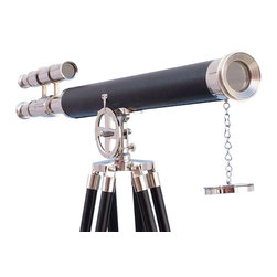 "Handcrafted Model Ships - Chrome/Black Griffith Astro Telescope 64"" - Tall Chrome Telescope - The Hampton Nautical Chrome/ Black Astro Telescope 64 is a beautiful solid chrome refractor telescope mounted on a tripod. A fully functional nautical masterpiece, this telescope makes an excellent gift to the nautical enthusiast, sailor, or astronomer in your life. Decorate your home, office, or boat with this chic telescope and enjoy the warm seafaring style it brings. Both the telescope and viewfinder are solid chrome, with up to 15x magnification, and focusing is accomplished by adjusting the eyepiece ring on the telescope tube. A removable chrome cap, connected by a chain, protects the objective lens when not in use. The chrome and black finish stand features smooth, polished round legs, each with solid chrome fittings and a screw release to let you adjust the height. A solid chrome chain holds the three legs together so the telescope can maintain its position. Dimensions: 64 inch H x 25 inch W x 32 inch L."