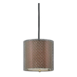 Uttermost - Catalan Nickel Mini Pendant - This impeccable pendant brings elegant illumination to your decor, courtesy of designer Carolyn Kinder. A modern metal cage covers a bronzed inner shade to simply striking effect.