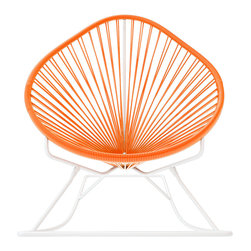 Acapulco Rocker, White Frame With Orange Weave - Sit back and relax in this classic woven rocking chair. The iconic pear-shaped seat is perfect for enjoying the backyard, but looks equally stylish inside the home. Order from a rainbow of colors for a pop of personality or stay cool with classic black and you can't go wrong.