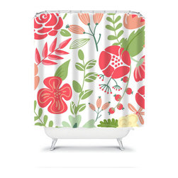 Shower Curtain Flower Coral Olive 71x74 Bathroom Decor Made in the USA - DETAILS: