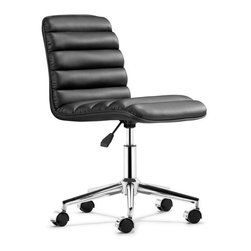 Admire Office Chair, Black - Comfortable ribs that conform to your back, the Admire chair is the perfect comfort chair for any office. The chair comes in three fun colors: black, white and red.