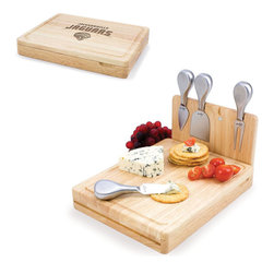 Picnic Time - Jacksonville Jaguars Asiago Folding Cutting Board With Tools in Natural Wood - The Asiago is a folding cutting board with tools that is another Picnic Time original design. This compact, fully-contained split-level cutting board is made of eco-friendly rubberwood. Lift up the top level of the board to reveal four brushed stainless steel cheese tools: a pointed-tipped cheese knife, cheese fork, cheese chisel knife, and blunt nosed hard cheese knife. The tools are magnetically secured to a wooden strip that lifts up so you can close the cutting board and display the tools. Designed with convenience in mind, the Asiago is great for home or anywhere the party takes you.; Decoration: Engraved; Includes: 4 brushed stainless steel cheese tools (1 pointed-tipped hard cheese knife, cheese fork, cheese chisel knife, and blunt nosed soft cheese knife