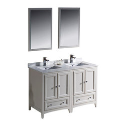 "Fresca - 48 Inch Double Sink Bathroom Vanity in Antique White, Antique White - Blending clean lines with classic wood, the Fresca Oxford Traditional Bathroom Vanity is a must-have for modern and traditional bathrooms alike. The vanity frame itself features solid wood in a stunning antique white finish that's sure to stand out in any bathroom and match all interiors. Available in many different finishes and configurations.  Dimensions: 48""W X 20.38""D X 32.63""H (Tolerance: +/- 1/2""); Counter Top: White Quartz Stone; Finish: Antique White; Features: 4 Doors, 2 Drawers; Soft Close Hinges; Hardware: Chrome; Sink(s): 16.25"" X 11.5"" X 6.5"" Undermount White Ceramic Sink; Faucet: Pre-Drilled for Standard Single Hole Faucet (Included); Assembly: Light Assembly Required; Large Cut Out in Back for Plumbing; Included: Cabinet, Sink, Choice of Faucet with Drain and Installation Hardware, Mirror (20""W X 31.88""H); Not Included: Backsplash"