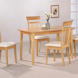 Coaster - Las Olas 5-Pc Casual Dining Set - Includes table and four side chairs. Casual style. Smooth rectangular table top. Sleek square tapered legs. Chair with simple slatted back. Soft neutral fabric seat. Square tapered legs. Warm light maple wood finish. Table: 48 in. L x 29 in. W x 30 in. W. WarrantyThis casual dining set offers you a quick and easy update for your dining room. Gather around with family and enjoy this comforting table and chair set in your stylish casual dining room.