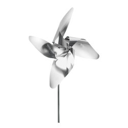 Blomus - VIENTO 4 Petal Pinwheel by Blomus - The Blomus VIENTO 4 Petal Pinwheel updates the whimsical child's toy with grownup material, creating an elegant whirligig for the garden. The VIENTO 4 Petal Pinwheel features durable stainless steel.
