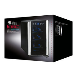 "Wine Enthusiast - Silent 6 Bottle Touchscreen Wine Refrigerator - Ideal storing conditions for reds and whites. Dimensions: 16""H X 10 1/2""W X 19 5/8""D. Digital touchscreen with temperature display. Thermoelectric, energy-efficient. ETL approved. Adjustable temperature range: 46-66F  Thermopane door, 3 pull-out chrome shelves. Interior LED lighting."