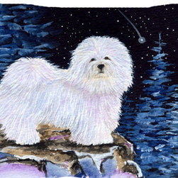 Caroline's Treasures - Starry Night Coton De Tulear Fabric Standard Pillowcase - Standard White on back with artwork on the front of the pillowcase, 20.5 in w x 30 in. Nice jersy knit Moisture wicking material that wicks the moisture away from the head like a sports fabric (similar to Nike or Under Armour), breathable performance fabric makes for a nice sleeping experience and shows quality. Wash cold and dry medium. Fabric even gets softer as you wash it. No ironing required.