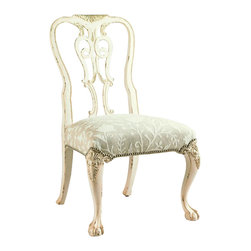 Lexington - Henry Link Oxford Square Side Chair - Hand-carved Queen Anne design in Mahogany with cabriole legs and ball-and-claw feet. Finish: Weathered White.