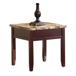 Homelegance - Homelegance Orton Faux Marble Top End Table in Rich Cherry - Creatively designed to meet the needs of your casual living room is the Orton collection. Faux marble tabletops are complimented by a rich cherry finish that covers each of the table's box-framed aprons and legs. The cocktail table features display shelf and a convenient lift tabletop that makes this functional group a welcome addition to your home.