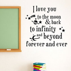 ColorfulHall Co., LTD - Wall Saying Sticker I Love you To The Moon & Back to Infinity - Wall Saying Sticker I Love you To The Moon & Back to Infinity