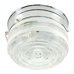 None - Transitional Chrome 1-light Flush Sconce - Light up your bathroom with this sharp one-light sconce. The flush-mount design has a chrome-finished fixture and a clear glass shade with prismatic detailing. The sconce only requires one 60-watt base bulb to produce its transitional lighting style.