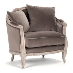 "Kathy Kuo Home - Rue du Bac French Country Chocolate Velvet Feather Chair - This wonderful barrel style armchair is hand crafted of  sturdy oak in a slightly distressed finish. Upholstered in 100& natural linen fabric, this traditional French Country inspired arm chair lends vintage elegance to any living room. One 18"" and one 24"" toss pillow also comes with this chair. Coordinating settee and sofa available as well."