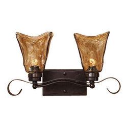 Uttermost Vetraio 2 Light Bronze Vanity Strip - Oil rubbed bronze. Heavy hand made glass is held in classic european iron works giving these pieces a contemporary quality, with strong traditional appeal as well.