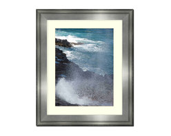 """Frames By Mail - Wall Picture Frame Silver with a white acid-free matte, 20x24 - This 20X24 silver wall picture frame is 2.5"""" wide.  The white matte, for a 16X20 picture, can be removed to accommodate a larger picture.  The frame includes regular plexi-glass (.098 thickness) foam core backing and can hang either horizontal or vertical."""