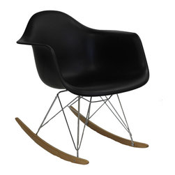 Modway Furniture - Modway Rocker Lounge Chair in Black - Lounge Chair in Black belongs to Rocker Collection by Modway Not Grandma's rocking chair, this mid-century retro modern rocker, has the avant garde style of today that adds pizzazz to your room. Still a comfortable seat for lulling children to sleep or moving in time to music, this rocking chair is the symbol of the modern home. Set Includes: One - Molded Plastic Rocking Chair Lounge (1)