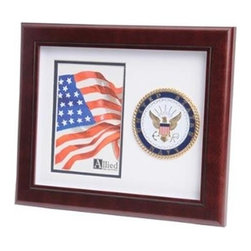 Flags Connections - U.S. Navy Medallion Portrait Picture Frame - U.S. Navy Medallion Portrait Picture Frame is designed to hold a single 4-Inch by 6-Inch picture. This picture is set into a double layer of Navy White matting with Gold trim. The frame is made from Mahogany colored wood, and the outside dimensions measure 10-Inches by 12-Inches. The U.S. Navy Medallion 4-Inch by 6-Inch Portrait Picture Frame is perfect for proudly displaying the picture of an individual who is serving, or has served in the U.S. Navy.
