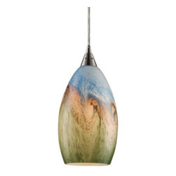 "ELK Lighting - Geologic Pendant by ELK Lighting - A lighting fixture inspired by the Earth itself. The name of the ELK Lighting Geologic Pendant comes from the stratums of color along its hand-crafted glass shade. The swirling pattern of the shade yet reveals three distinct layers--green, amber and blue--those tones most representative of the Earth's surface.Founded in Eastern Pennsylvania in 1983, ELK Lighting designs and delivers ""Lighting for Distinctive Homes."" As such, the exclusive line of ELK Lighting products has extraordinary designer appeal matched by an emphasis on value and craftsmanship.The ELK Lighting Geologic Pendant is available with the following:Details:Multicolor hand-blown glass shadeMetal supportsSatin Nickel finishRound ceiling canopy72"" Clear suspension cordUL ListedLighting:One 60 Watt 120 Volt Medium Base Incandescent lamp (not included).Shipping:This item usually ships within 5-7 business days."