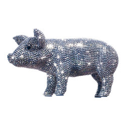 Interior Illusions - Graphite Piggy Bank - Decorate your desk or bookshelves with the eye-catching Graphite Piggy Bank. The handmade ceramic standing pig is encrusted with rhinestones in sleek graphite and comes with a removable coin stop. Pair it with modern decor for a bold, bright look.