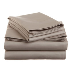 1500 Thread Count Cotton King Stone Solid Sheet Set - 1500 Thread Count 100% Cotton - King Stone Solid Sheet Set