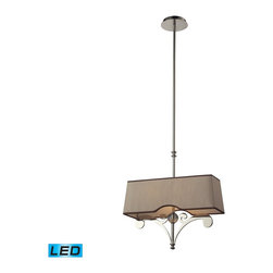 Elk Lighting - Elk Lighting Linear Pendants Billiard/Island with Polished Nickel X-DEL-2/45213 - These Linear Pendants Offer A Great Alternative To A Standard Mini Pendant And Can Accentuate A Kitchen Island Or Spaces That Benefit From A Slim Design, Robust Decorative Style, And Rich Finishes.  The Fabric Shade Of Each Fixture Is Custom Designed To Complement The Metalwork Creating A Unique And Free-Flowing Lighting Experience. - LED, 800 Lumens (1600 Lumens Total) With Full Scale Dimming Range, 60 Watt (120 Watt Total)Equivalent , 120V Replaceable LED Bulb Included