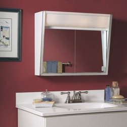 Lighthouse Distribution Corp - Broan-Nutone Flair 28W x 19.5H in. Surface Mount Medicine Cabinet 327LP Multicol - Shop for Bathroom Cabinets from Hayneedle.com! Economy meets quality in the Broan-Nutone Flair Surface Mount Medicine Cabinet - 28W x 19.5H in. Sleek handsome and helpful this creative taper design allows room for the integrated light without using up too much wall space. Stainless steel exterior looks sharp. The fixture holds four 60-watt incandescent bulbs (not included. Twin sliding mirrored doors have a polished edge and matching handles. The white baked-on enamel interior of the steel body cleans with a wipe. Backed by a one year manufacturer's warranty. Assembles easily with included instructions. Mounting hardware included. Dimensions: 28W x 7.5D x 19.5H inchesShelf depth: 3.5D inchesAbout Broan-NuToneBroan-NuTone has been leading the industry since 1932 in producing innovative ventilation products and built-in convenience products all backed by superior customer service. Today they're headquartered in Hartford Wisconsin employing more than 3200 people in eight countries. They've become North America's largest producer of medicine cabinets ironing centers door chimes and they're the industry leader for range hoods bath and ventilation fans and heater/fan/light combination units. They are proud that more than 80 percent of their products sold in the United States are designed and manufactured in the U.S. with U.S. and imported parts. Broan-NuTone is dedicated to providing revolutionary products to improve the indoor environment of your home in ways that also help preserve the outdoor environment.