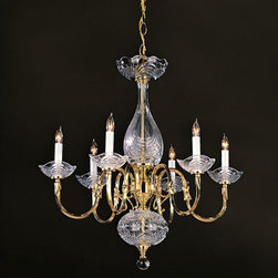 Crystorama - Crystorama 466-PB Historical Brass 6 Light Chandeliers in Polished Brass - This elegant chandelier artfully blends 24% lead crystal bobeches with a classic polished brass frame to help make a statement in any room.